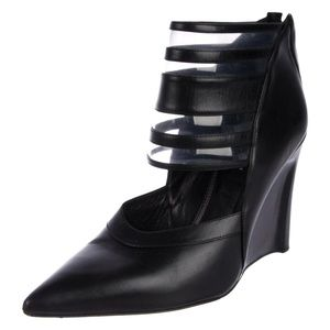 DEREK LAM Meryl Pointed-Toe Leather Wedge Sz 8.5